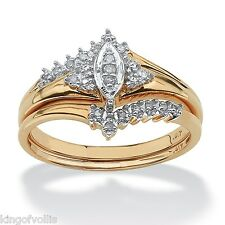 WEDDING ENGAGEMENT RING SET 10K GOLD DIAMOND  MARQUISE SIZE 6 7  8 9 10