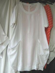 "EDEN ROCK Classic  Artisan Quality Linen White Balloon Dress CH 47"" VGC L"