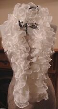 Frilly lace scarf  - hand made  - Rico yarn - White