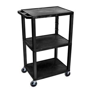 """H. Wilson Black Tuffy 3 Shelf 42"""" AV Cart"""
