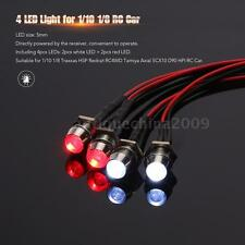 4 LED Lights Kit 2 White 2 Red for 1/10 1/8 Traxxas HSP Redcat RC4WD RC Car L1F2