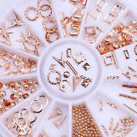 350Pcs Rose Gold Rivet 3D Nail Art Decoration in Wheel Mix-shape Nail Studs Bead