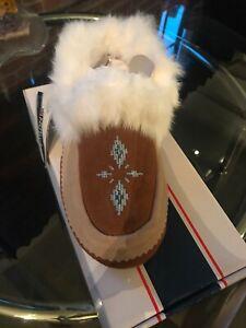 Pajar Slippers Sheepskin Fur Rabbit Beaded Suede Bianca 41 10 Chestnut Coffee