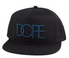 Dope Baseball Cap With Teal Contrast Logo on Black Snapback