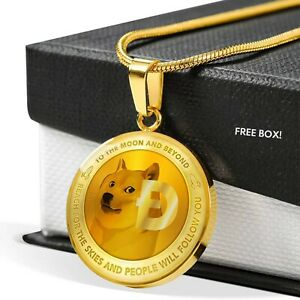Dogecoin Necklace Round Pendant Doge Coin Jewelry Silver Gold Money Crypto Gifts