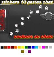 10 X PATTES DE CHAT STICKERS  PET PAW PRINTS AUTOCOLLANT STICKER AUTO - MOTO