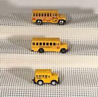 Lot of 3 Yellow School Buses - Maesto, Matchbox (door opens), & 1 Unbranded