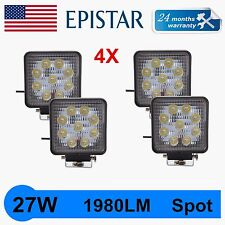 4PCS SQUARE 27W LED WORK LIGHT SPOT BEAM OFFROAD LAMP HID 4X4WD JEEP BOAT 4.3''