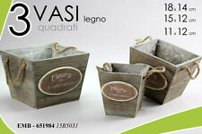 SET 3 VASI QUADRATI IN LEGNO DECORATI H14-H12-12