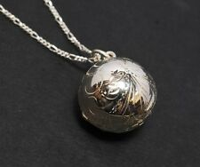 Sterling Silver Ball Shaped Enrgraved Locket and Chain.