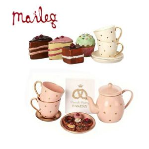 Maileg Pink Kettle Cookie Set +White Cups Cakes Set Birthday day Christmas Gift
