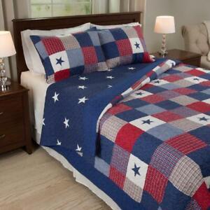 American Stars Stripes 3-piece Quilt Set Pillow Bedspread Blanket KING Size