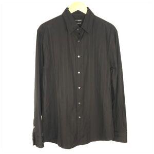 John Henry Black Striped Long Sleeve Button Down Dress Shirt Men Size Large