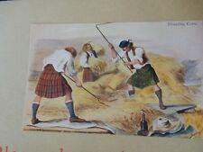 More details for postcard  p8 a31  highland tartan croft crofters threshing corn  vgc