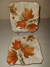 4pc MAXCERA Autumn Leaves Acorns Salad Plates Thanksgiving Fall