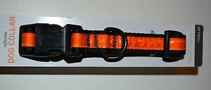 """Reflective Nylon Dog Collar Size Med 3/4"""" thick Adjustable 10"""" to 16"""" HUNTING"""