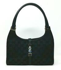 Vintage Gucci Jackie Black GG Canvas Leather Shoulder Hobo Hand Bag Authentic
