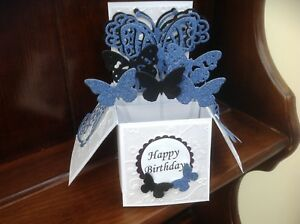 Beautiful handmade butterfly themed pop up greetings card
