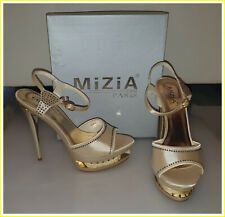 High Heels MiZiA PARIS (Gr. 39)[Gold / glänzend / Stras] Plateau Sandalette NEU