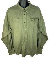 Wrangler Men's 3XL XXL Green Long Sleeve Button Up Work Shirt Used