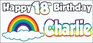 2 PERSONALISED Rainbow 18th Birthday Banner Decorations Teenager Son Daughter