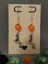 Halloween jewellery dangly witch hat pumpkin earrings, silver plated ear hooks