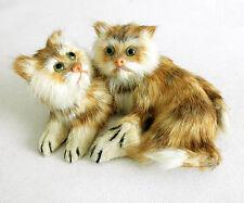 Vintage Real Fur Orange Hair Calico Kitty Stuffed Animal Cat Toy Kittens Decor