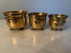 3 Brass Mini Cauldron pots Vintage cast Handles incense trinket footed Antique