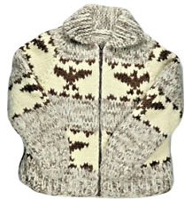 Cowichan Womens Sweater Cardigan Knit Wool S Handmade Eagle Canada Tribal Native