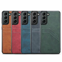 Shockproof Leather Dual Card Pocket Back Case Cover For Samsung Galaxy Phone