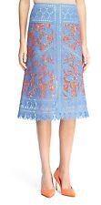 $928 TORY BURCH RUNWAY Whitney Hudson Embroidered Crochet Midi Skirt - Sz 2