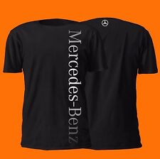 MERCEDES BENZ VERTICAL SHIRT GERMAN 100% COTTON SILVER ON BLACK MERCEDES-BENZ