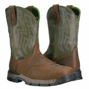 Ariat® Men's Rebar Flex Western H2O Rye Brown & Green Boots 10021485 Soft Toe