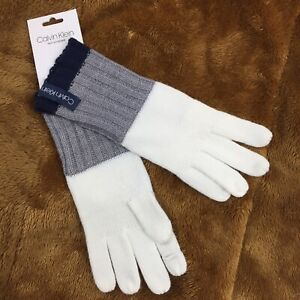 NWT Calvin Klein Text Enabled Knit Ivory Grey Blue Gloves One Size $40