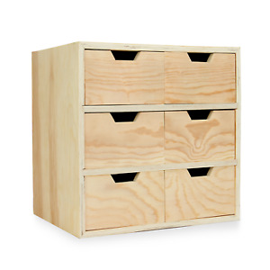 Mini Wooden Six Drawer Chest Craft & Sewing Storage Jewellery Box Pukkr