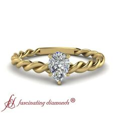 Pear Shaped Diamond Braided Solitaire Engagement Ring In Yellow Gold 0.40 Ctw.