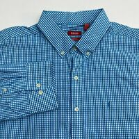 Izod Button Up Shirt Men's Size 2XL XXL Long Sleeve Blue White Gingham Slim Fit