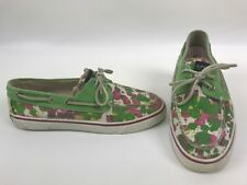 Sperry Top Sider Boat Shoes Size 8 Women Green Pink Splatter Lace Canvas