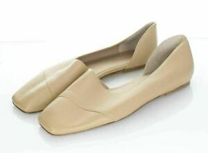 S10 $275 Women's Sz 8.5 M Vince Cyder Leather d'Orsay Flat In Cappuccino