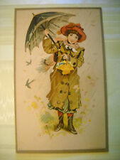 PIANOS ORGANS antique Victorian trade card CHROMOLITHO April showers LOCKPORT NY