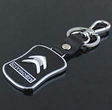 LG82 PU Leather Black Buckle Keyring For Citroen Car Logo Key Ring Keychain Gift