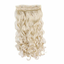 """Clip In One Piece Hair Extension Platinum Blonde Wavy Curly 23"""""""