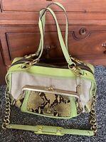COACH Ashley Bonnie Natural Straw & Lime Python Leather LG Tote Satchel #13377