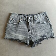Womens Levis 501 High Rise Distressed Denim Jean Shorts Black/ Button Fly 30 W