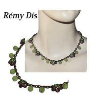 REMY DIS  PARIS Collier en cuivre patiné cristal et perles vert bijou