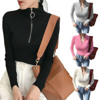 Women Spring Knit Pullover V Neck Turtleneck Zipper Slim Jumper Sweater Tops
