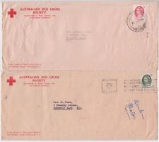 Stamps 5d red & green QE2 on pair 1965 Australian Red Cross Society long covers