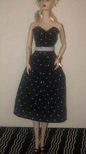 Silkstone Barbie Polka Dot DRESS 1959 Inspired Vintage Retro Gown blue white