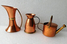 3 vintage copper and brass ornaments miniatures jug vase watering can milk churn