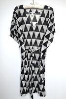 H&M Plus Size 16 XL Womens Summer Tunic Top Short Sleeve Geometric Black White